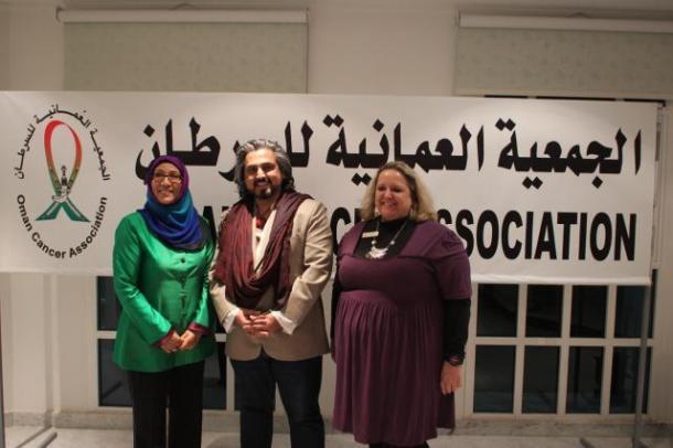 HE The Hon Yuthar Al Rawahi, Ibrahim Gailani, Sarah White against cancer