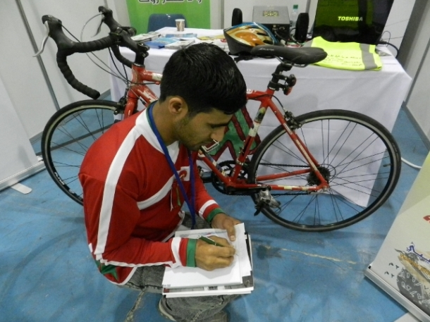 Khalid al-Shabibi, also known as the 'campaign cyclist' uses his bike for his campaigns on road safety. In 2010 he crisscrossed the GCC region to mark the Sultanate's 40th National Day. During this tour he not only was an ambassador for Oman, but also spread the message of awareness around road safety, energy and environmental conservation. For the same reason in 2011, he undertook a bicycle excursion from Buraimi to Muscat. For Khalid road safety is the responsibility of every one. Wearing the safe belt, not using the phone during driving, not throwing objects out of the window are just a few examples to keep the roads safe.