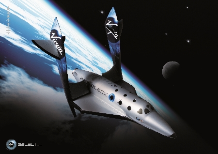 A conceptual illustration of SpaceShipTwo feathered in space.