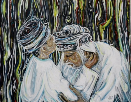 Traditional way of greeting, Ahmed Al Mashiki, manager of the Omani Society for Fine Arts Salalah My title: respect of the Elderly.