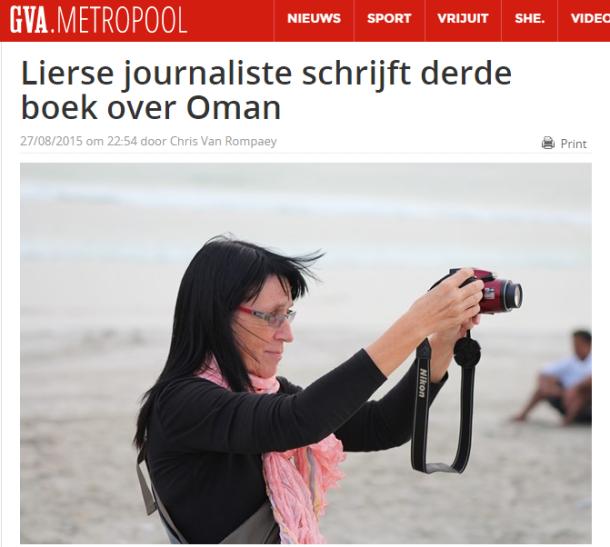 online newspaper GvA, 28-08-2015, Title: Journalist from Lier (town in Belgium) writes third book about Oman...