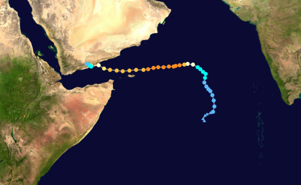 Track map of Extremely Severe Cyclonic Storm Chapala of the 2015 North Indian Ocean cyclone season. The points show the location of the storm at 6-hour intervals. The colour represents the storm's maximum sustained wind speeds as classified in the Saffir–Simpson hurricane wind scale (see below), and the shape of the data points represent the nature of the storm, according to the legend below. Created by Keith Edkins using Wikipedia:WikiProject Tropical cyclones/Tracks. The background image is from NASA. Tracking data is from NRL.