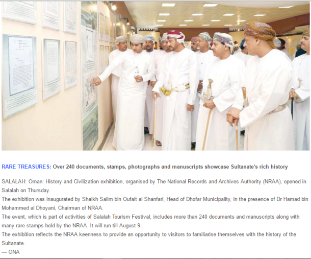 Capture History and Civilzation exhibition Oman Daily